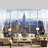 JAMMORY Art DecoWallpaper For Home Wall Covering Canvas Adhesive required Mural High Rise City View XL XXL XXXL