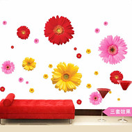 cheap Clearance-1Pcs  Daisy Flower Living Room Vinyl 3D Wall Stickers Window Decor Bedroom Wall Decals Sticker To The Kitchen On The Door
