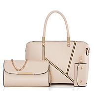 お買い得  バッグセット-女性用 バッグ その他皮革 バッグセット 3個の財布セット ラッフル ブラック / フクシャ / ワイン