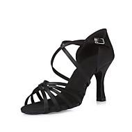 """billige Salsasko-Dame Latin Dansesko Moderne Swingsko Samba Salsa Silke Hæle Professionel Begynder Træning Rosette Stilethæle Sort Mørkebrun Hudfarve 3 """"-"""