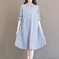 Mulheres Tamanhos Grandes Para Noite Algodão Solto Vestido Listrado Colarinho de Camisa Assimétrico / Belas Stripe
