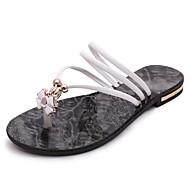 baratos Sapatos Femininos-Feminino Sapatos Courino Inverno Primavera Verão Outono Conforto Chinelos e flip-flops Caminhada Sem Salto Ponta Redonda Pérolas para