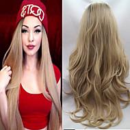 Kvinder Syntetiske parykker Blonde Front Lang Bølget Blond Natural Hairline Ombre-hår Mørke hårrødder Naturlig paryk kostume Parykker