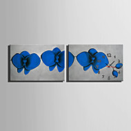 E-HOME® Blue Flowers Clock in Canvas 2pcs