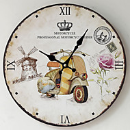 Retro Relógio de parede,Redonda Madeira Interior Relógio