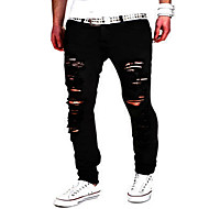 cheap -Men's Street chic / Punk & Gothic Cotton Slim Slim / Jeans / Chinos Pants - Solid Colored Black / Weekend