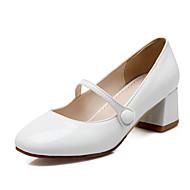 baratos Sapatos de Tamanho Pequeno-Feminino-SaltosSalto Grosso Salto de bloco-Branco Preto Nú-Couro Ecológico-Escritório & Trabalho Social Casual