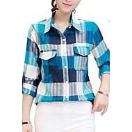 Majica Žene Karirani uzorak Kragna košulje Umjetna svila Poliester
