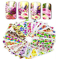 1set 48pcs Mixed Full Cover Wrap Nail Art Watermark Sticker Beautiful Flower Image Design Water Transfer Decals Nail Set Decoration A49-96