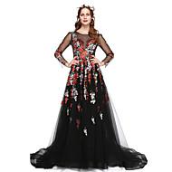 Linha A Ilusão Decote Longo Renda / Tule Evento Formal Vestido com Renda / Pregas de TS Couture®