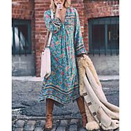 Pentru femei Mărime Plus Size Concediu Boho Swing Rochie - Imprimeu, Floral V Adânc Midi Albastru / Larg