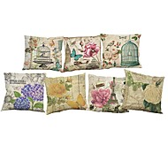 cheap Cushion Sets-7 pcs Linen Pillow Case Pillow Cover, Solid Quotes & Sayings Wildlife Textured Novelty Casual Beach Style Bolster Traditional/Classic