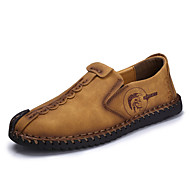 cheap Men's Leather Shoes-Men's Shoes Cowhide Spring / Summer / Fall Comfort / Light Soles Loafers & Slip-Ons Walking Shoes Black / Earth Yellow / Khaki