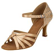 billige Sko til latindans-Dame Latin Silke Sandaler Opptreden Kubansk hæl Naken 7,5 cm Kan spesialtilpasses