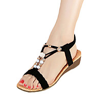 Women's Shoes PU Spring Comfort Sandals Flat Heel For Casual White Black