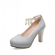 Újdonság Kényelmes-Vastag-Női cipő-Magassarkúak-Esküvői Irodai Ruha Alkalmi Party és Estélyi-Bőrutánzat Lakkbőr-Rózsaszín Ezüst Arany