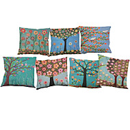Set of 7 European fashion tree pattern Linen  Cushion Cover Home Office Sofa Square  Pillow Case Decorative Cushion Covers Pillowcases