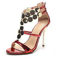 Sandals Summer Club Shoes Novelty Patent Leather Wedding Party & Evening Dress Stiletto Heel Sequin Zipper Red Silver Gold