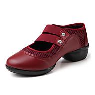 Dame Moderne Lær Tekstil Flate Joggesko Utendørs Flat hæl Svart Rød 4 cm Kan ikke spesialtilpasses