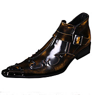 cheap Plus Size Shoes-Men's Shoes Leather Spring Fall Novelty Comfort Oxfords Walking Shoes Rivet for Wedding Party & Evening Brown Red