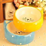 ネコ 犬 フィーダ ペット用 ボウル&摂食 防水 ブルー イエロー セラミック