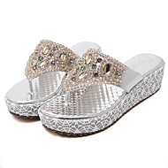 Women's Sandals PU Spring Summer Fall Casual Dress Rhinestone Wedge Heel Gold 2in-2 3/4in