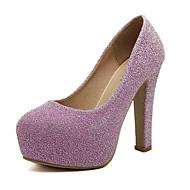 Žene Cipele PU Jesen Cipele na petu Kockasta potpetica Krakova Toe Svjetlucave šljokice za Kauzalni Vanjski Crn Pink Pink