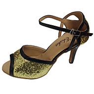baratos Sapatilhas de Dança-Mulheres Sapatos de Dança Latina / Sapatos de Salsa Glitter / Couro Sandália Salto Personalizado Personalizável Sapatos de Dança Vermelho / Prateado / Dourado / Interior / Espetáculo / Profissional