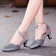 baratos Sapatilhas de Dança-Mulheres Sapatos de Dança Moderna Sintético / Courino Salto Gliter com Brilho Salto Personalizado Personalizável Sapatos de Dança Dourado / Roxo / Cinzento Prateado / Interior