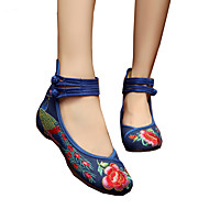 cheap Women's Flats-Women's Shoes Canvas Spring / Summer Comfort / Novelty / Embroidered Shoes Oxfords Walking Shoes Flat Heel Round Toe Buckle / Flower Red / Green / Light Blue