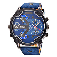 Men's Sport Watch Military Watch Fashion Watch Wrist watch Quartz Calendar / date / day Dual Time Zones Punk Large Dial Leather Band