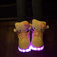 baratos Sapatos de Tamanho Pequeno-Mulheres Sapatos LED Couro Ecológico Primavera / Outono Conforto / Tênis com LED Tênis Caminhada Sem Salto Ponta Redonda Cadarço Branco