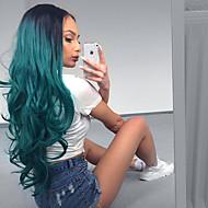 halpa -Naisten Synteettiset peruukit Suojuksettomat Pitkä Laineikas Vihreä Liukuvärjätyt hiukset Luonnollinen peruukki puku Peruukit