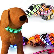 חתולים כלבים קולרים מחזיר אור נורות LED חוזרמתכווננת הבהוב בטיחות משובץ / משבצות גאומטרי אנימציה Red לבן ירוק כחול ורוד צהוב סגול כתום
