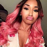 Kvinder Syntetiske parykker Lågløs Bølget Pink Ombre-hår Naturlig paryk Halloween Paryk Carnival Paryk kostume Parykker