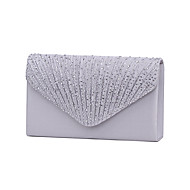 cheap Clutches & Evening Bags-Women's Bags Satin Evening Bag Tri-fold Crystal/ Rhinestone for Wedding Event/Party Formal All Seasons Black Silver Navy Blue Almond Wine