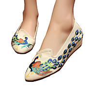 Dame-Lerret-Flat hæl-Komfort Original brodert sko-Oxfords-Friluft Fritid Sport-Svart Beige Rød Blå
