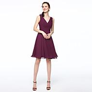 Γραμμή Α Λαιμόκοψη V Κοντό / Μίνι Σιφόν Φόρεμα Παρανύμφων με Πλισέ με LAN TING BRIDE®