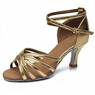 baratos Sapatilhas de Dança-Mulheres Sapatos de Dança Latina Cetim Sandália / Salto Presilha Salto Cubano Personalizável Sapatos de Dança Prateado / Leopardo / Castanho Escuro / Espetáculo