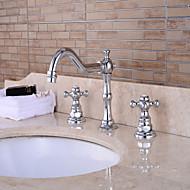 Nykyaikainen Integroitu Laajallle ulottuva Keraaminen venttiili Yksi kahva yksi reikä Kromi , Kylpyhuone Sink hana