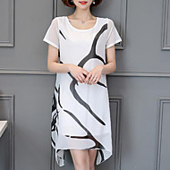 Plusstørrelser Chiffon Kjole - Ensfarvet, Trykt mønster Over knæet Hvid