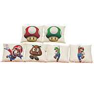 Set of 6  Super Mary pattern   Linen Pillowcase Sofa Home Decor Cushion Cover