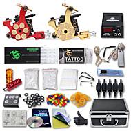 tanie Profesjonalne zestawy tatuaż-Maszynka do tatuażu Profesjonalny zestaw do tatuażu 2 x cast iron maszyna tatuaż na podszewki i cieniowania Wysoka jakość LCD zasilanie 2