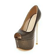 baratos Sapatos de Tamanho Pequeno-Mulheres Sapatos Couro Ecológico Primavera / Verão Conforto Sandálias Caminhada Salto Agulha Peep Toe Preto / Rosa claro / Amêndoa