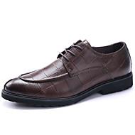 Herre sko Lær Vår Sommer Høst Vinter Bullock sko Oxfords Snøring Til Bryllup Avslappet Fest/aften Svart Brun