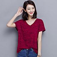 Kortærmet V-hals Medium Damer Rød Grå Ensfarvet Sommer Simpel Afslappet/Hverdag Plusstørrelser T-shirt,Polyester