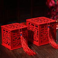 Κυκλικό Τετράγωνο Κυβικό Ξύλο Εύνοια Κάτοχος με Κορδέλες Εκτύπωση Κουτιά Μποπονιέρων Βάζα για Καραμέλες και Μπουκάλια