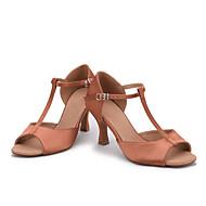 baratos Sapatilhas de Dança-Feminino Latina Cetim Sandália Salto Interior Salto Carretel Roxo Marron Vermelho Azul Castanho Escuro Personalizável