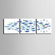 Moderne / Nutidig Avslappet Dyr Andre Veggklokke,Kvadrat Lerret 25 * 25 * 3 Innendørs Klokke
