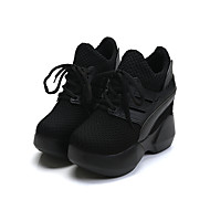 Női Cipő PU Tavasz Nyár Kényelmes Sportcipők Talp Kerek orrú Fűző Kompatibilitás Hétköznapi Ruha Fekete Piros